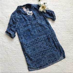 NEW Philosophy Chambray Dress Tunic Aztec tribal